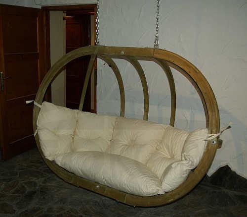 Dřevěné závěsná houpačka na terasu