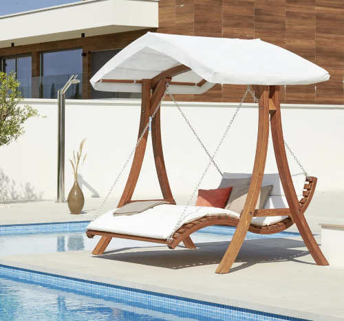 Luxusní dřevěné houpací lehátko na zahradu