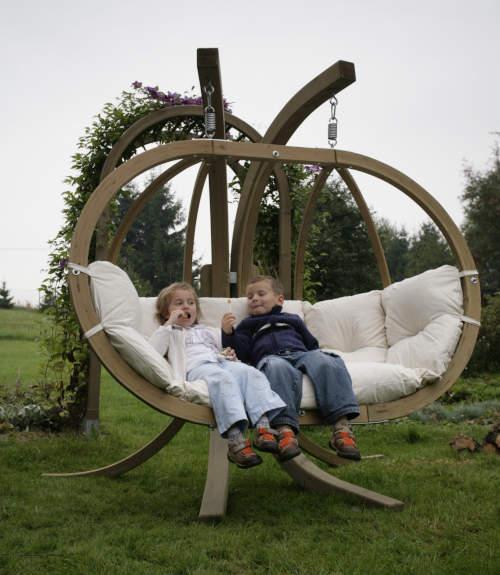 Luxusní dřevěné závěsné houpací křeslo včetně konstrukce