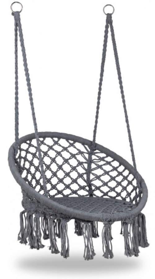 Závěsný houpací kruh v šedém barevném provedení